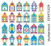 set of 24 ramadan lanterns _... | Shutterstock .eps vector #529971529