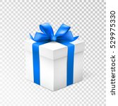 gift box with blue ribbon... | Shutterstock .eps vector #529975330