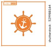 anchor and ship steering wheel... | Shutterstock .eps vector #529988164