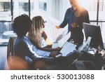 young team of coworkers making... | Shutterstock . vector #530013088