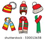 winter clothes. santa stocking... | Shutterstock .eps vector #530013658