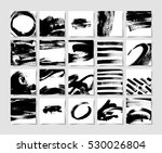 set of 20 black ink brushes grunge square pattern, hand drawing background collection for your design, brush strokes element vector illustration