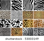 Stock vector highly detailed animal skin vector pack different pattern 53003149