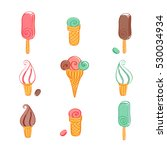 set of ice cream icons. vector... | Shutterstock .eps vector #530034934