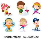 winter holidays. little girl... | Shutterstock .eps vector #530036920
