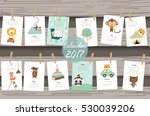 colorful cute monthly calendar...   Shutterstock .eps vector #530039206