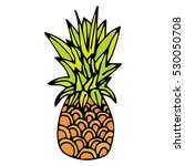 hand drawn pineapple with black ... | Shutterstock .eps vector #530050708