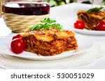 Piece Of Tasty Hot Lasagna With ...