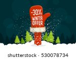 hand in red mitten sticking out ... | Shutterstock .eps vector #530078734