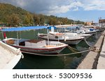 City harbor in marmaris with boats - stock photo