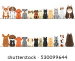 Stock vector cats and small dogs border set front view and rear view 530099644