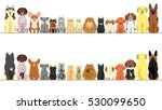 Stock vector large and small dogs and cats banner set front view and rear view 530099650
