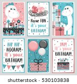 set of 6 cute creative cards... | Shutterstock .eps vector #530103838