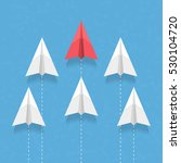 red paper airplane as a leader... | Shutterstock .eps vector #530104720