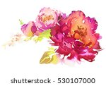 Stock photo flowers watercolor illustration manual composition pastel colors spring summer 530107000