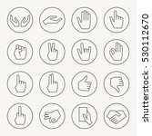 hand gestures thin line icon set | Shutterstock .eps vector #530112670