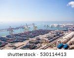 harbor with lots of cargo in... | Shutterstock . vector #530114413