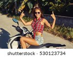 young beautiful brunette girl... | Shutterstock . vector #530123734