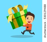 businessman carrying big gift... | Shutterstock .eps vector #530129488