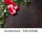 christmas fir tree and mittens... | Shutterstock . vector #530133280