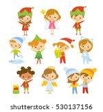 set of cute children in... | Shutterstock .eps vector #530137156