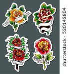 vector traditional tattoo roses ... | Shutterstock .eps vector #530143804