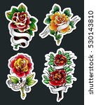 vector traditional tattoo roses ... | Shutterstock .eps vector #530143810