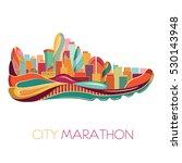 city marathon. poster   running ... | Shutterstock .eps vector #530143948