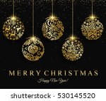 merry christmas gold ball... | Shutterstock .eps vector #530145520