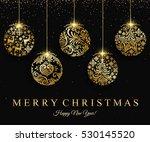 merry christmas gold ball... | Shutterstock .eps vector #530145520