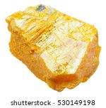 Small photo of macro shooting of specimen of natural mineral - piece of orpiment (ratebane, yellow arsenic, yellow orpiment, yellow ratebane) stone isolated on white background