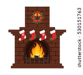 christmas fireplace in colorful ...   Shutterstock .eps vector #530151763