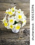 white daffodils at china vase... | Shutterstock . vector #530152096