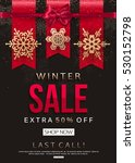 winter sale banner with gold... | Shutterstock .eps vector #530152798