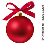 Red Christmas Ball With Bow....