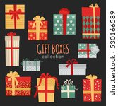 christmas gift boxes collection ... | Shutterstock .eps vector #530166589
