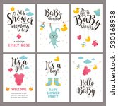 baby shower posters set. vector ...