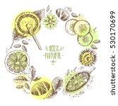hand drawn round wreath... | Shutterstock . vector #530170699