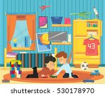 two boys playing with toys in... | Shutterstock .eps vector #530178970
