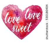 grungy pink watercolor heart... | Shutterstock .eps vector #530180404