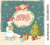vector christmas and new year... | Shutterstock .eps vector #530180554