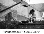 homeless child eating on the...   Shutterstock . vector #530182870