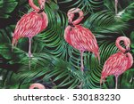 pink flamingos  exotic birds ... | Shutterstock . vector #530183230