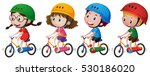 four kids riding bike with... | Shutterstock .eps vector #530186020
