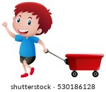 happy boy pulling red wagon... | Shutterstock .eps vector #530186128
