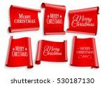 realistic red paper banners set.... | Shutterstock .eps vector #530187130