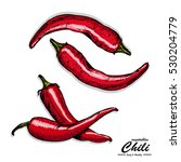 the color chili peppers in...   Shutterstock .eps vector #530204779