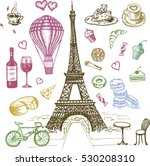 set of hand drawn french icons  ... | Shutterstock .eps vector #530208310