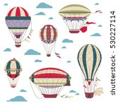 vintage hot air balloons vector ... | Shutterstock .eps vector #530227114