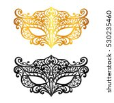 set of lace carnival venetian... | Shutterstock .eps vector #530235460